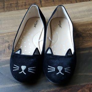 Cat and Jack Black Velvet Kitty flats